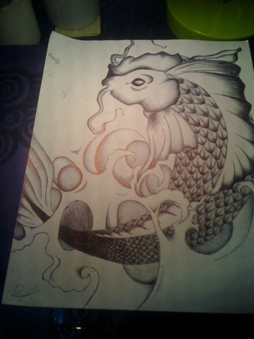 Black grey drawing of koi tattoo art for Koi fish black and grey