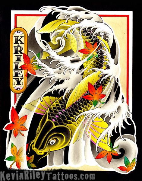 Gold black japanese art koi tattoo for Black and gold koi fish