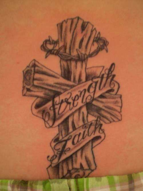 Wooden Banner Barbed Wire Cross Tattoo