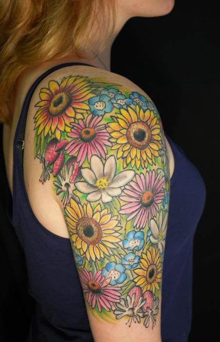 Sunflower And Daisy Tattoo: Bright & Colorful Sunflower & Daisy Half Sleeve Tattoo