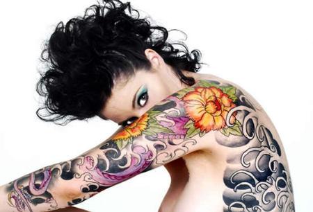 marigold flower tattoo on shoulder and arm. Black Bedroom Furniture Sets. Home Design Ideas