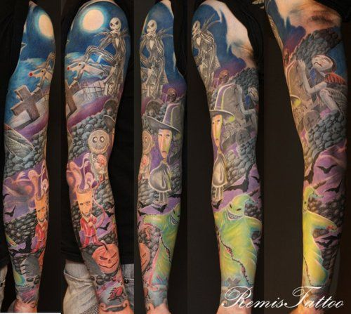 A Nightmare Before Christmas full sleeve tattoo