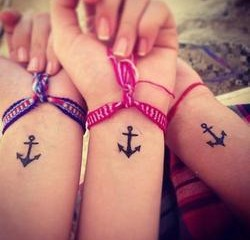 Best friends wrist anchor tattoos