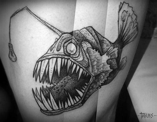Black and white angler fish tattoo