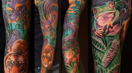 Colorful jungle scene sleeve tattoo