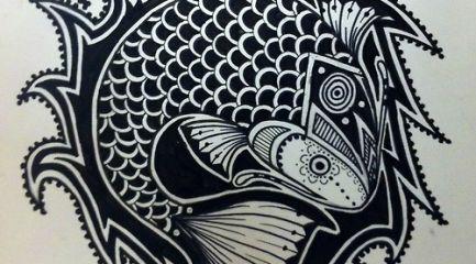 Cool tribal fish tattoo design