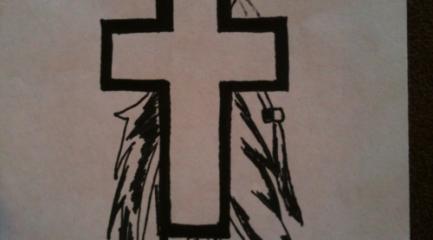 Cross and feathers tattoo design idea
