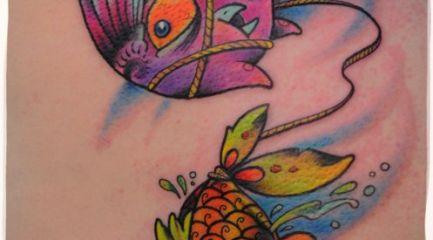 Cute cartoon bird and fish tattoo
