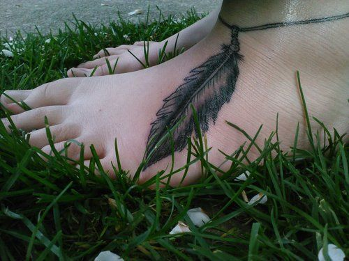 Girls ankle bracelet feather tattoo