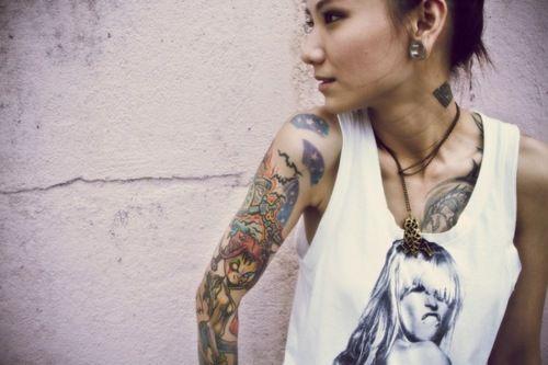 Girls full sleeve tattoo w. demon girl and broken lock