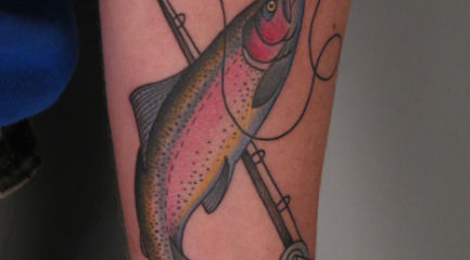 Rainbow trout arm tattoo with flyrod