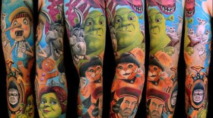 Shrek characters full sleeve tattoo