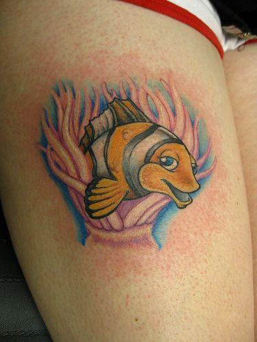 Silly girly clown fish tattoo