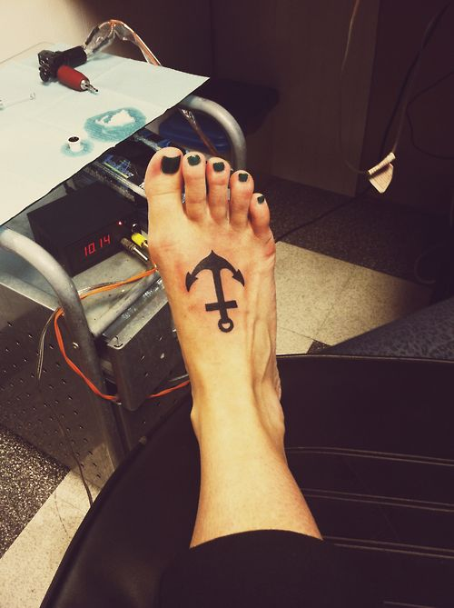 Simple Simple black anchor tattoo on foot