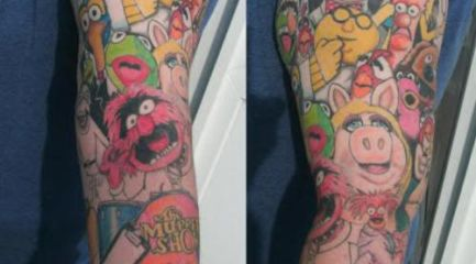 The Muppet Show full sleeve tattoo