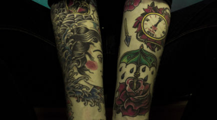 Two half sleeves w/ face, rose, clock, and writing