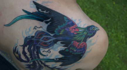 Blue shoulder phoenix tattoo