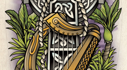 Celtic cross and harp tattoo design