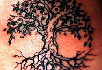 Cool and colorful Celtic tree of life tattoo