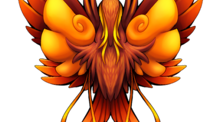 Different phoenix tattoo design in fire colors