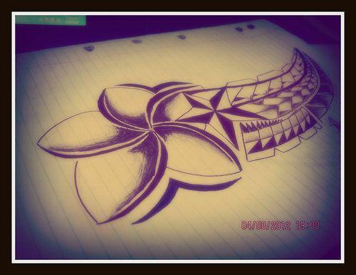 Frangipani star Polynesian style tattoo design