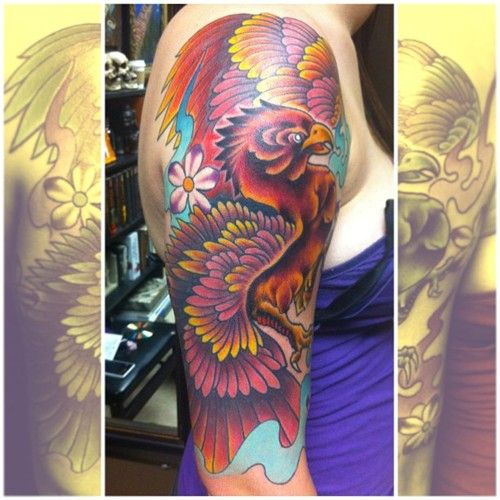 Girls colorful phoenix half sleeve tattoo