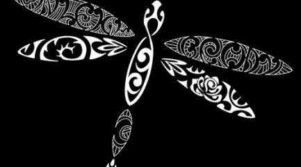 Polynesian dragonfly tattoo design