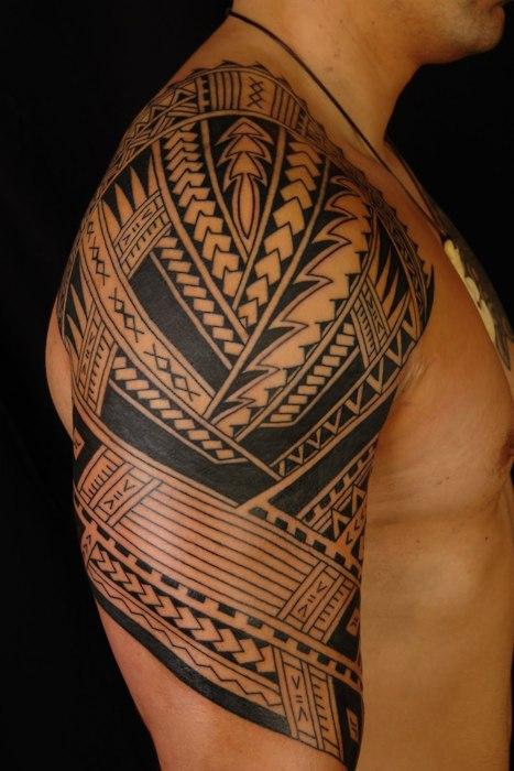 Polynesian half sleeve arm tattoo for Half sleeve tattoos with meaning