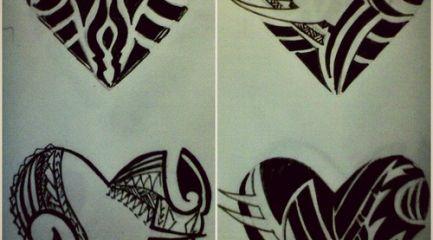 Polynesian style heart tattoo designs