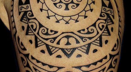 Polynesian tribal shoulder tattoo