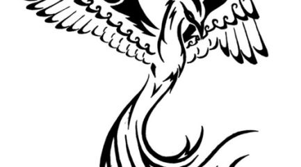 Simple black phoenix tattoo design