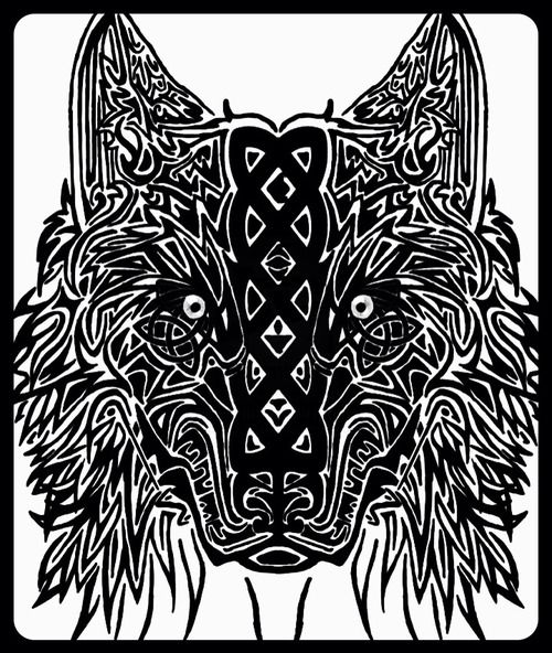 Tribal Celtic wolf tattoo design