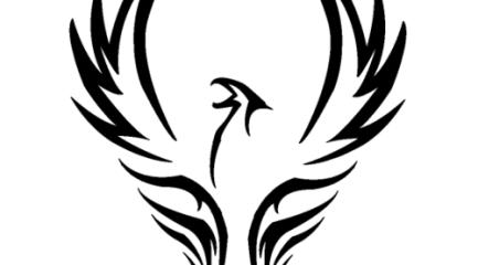 Tribal phoenix tattoo design with raised wings
