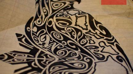 Tribal Polynesian bird tattoo design