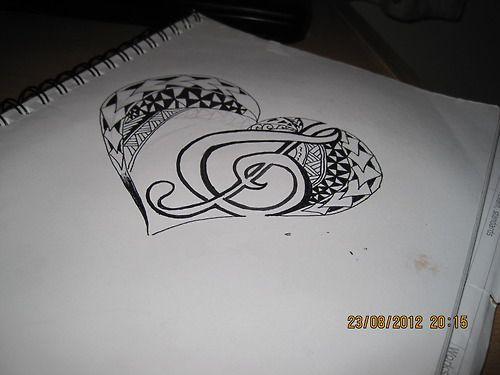 Tribal Polynesian heart tattoo design with treble clef