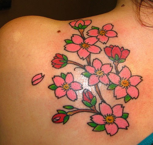 Ladybug Tattoos Designs Ideas And Meaning: Small & Simple Flowers Cherry Blossom Tattoo On Shoulder