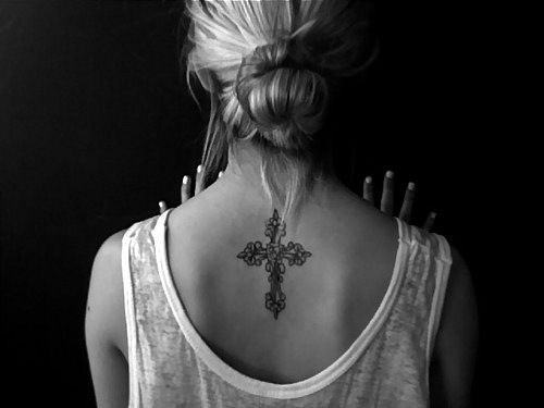 Womens Flower Celtic Cross Tattoo On Back