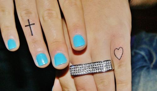 tiny finger cross heart cross tattoo. Black Bedroom Furniture Sets. Home Design Ideas