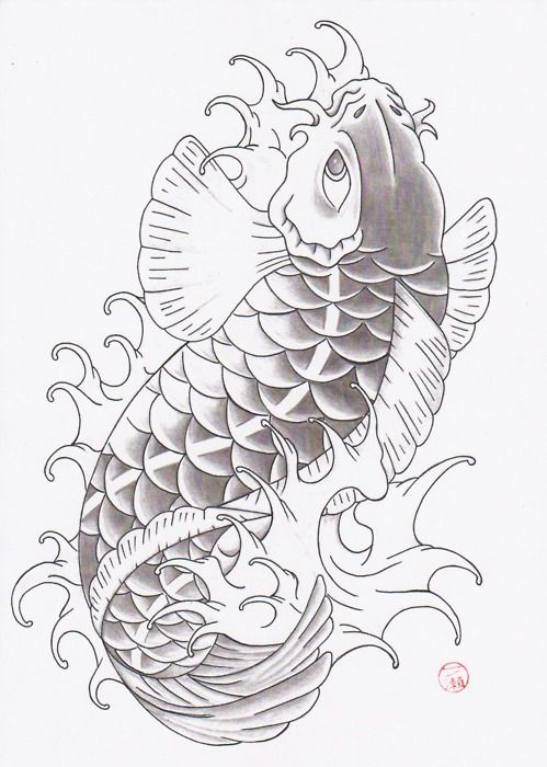 Black and grey fish drawing of koi tattoo art for Koi fish black and grey