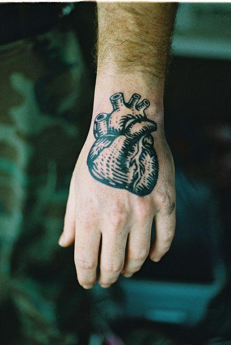 Black Heart Tattoo On Hand For Men
