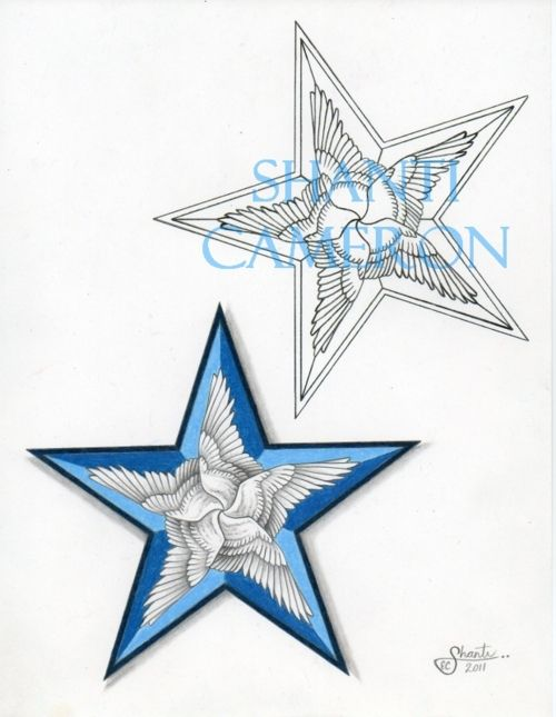 Nautical star tattoo with wings