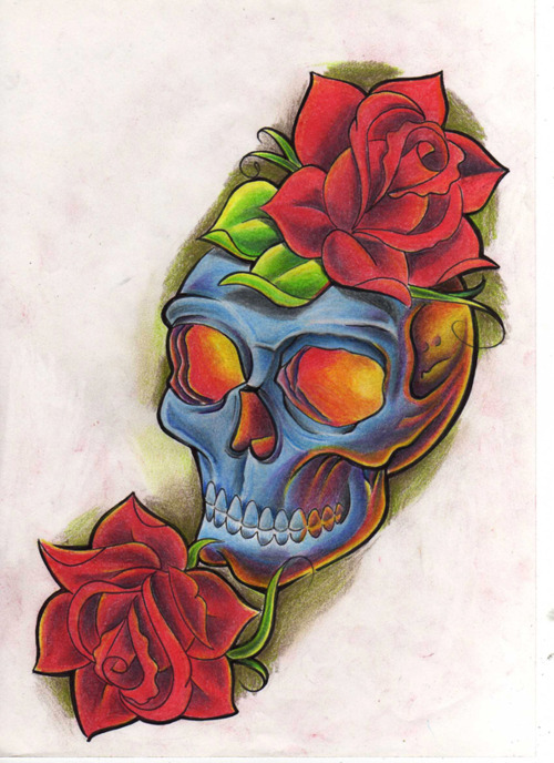 Colorful Skull Tattoo And Roses Drawing
