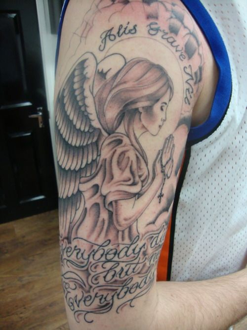 praying woman angel shoulder tattoo. Black Bedroom Furniture Sets. Home Design Ideas