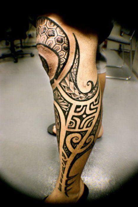 polynesian tribal tattoo on leg. Black Bedroom Furniture Sets. Home Design Ideas