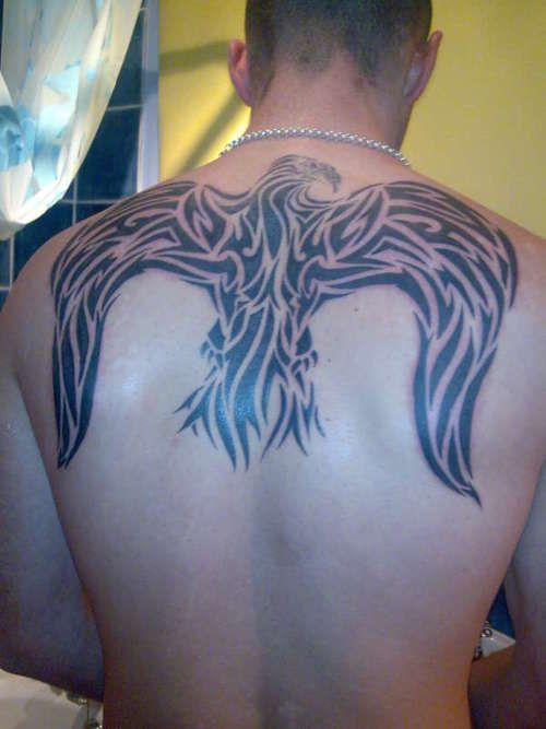 Eagle Tribal Tattoo On Upper Back