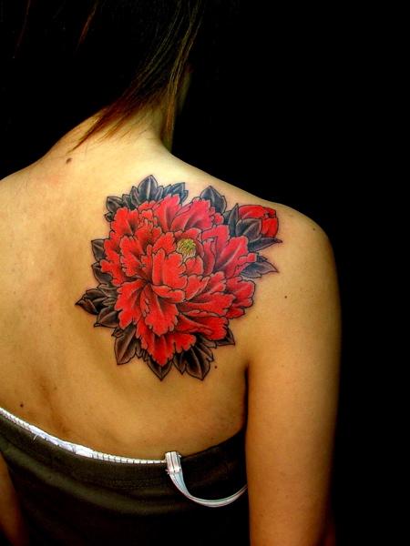 Back shoulder red carnation flower tattoo for Red flower tattoo
