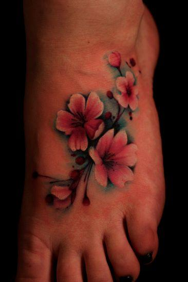 small cherry blossom flower tattoo on foot. Black Bedroom Furniture Sets. Home Design Ideas