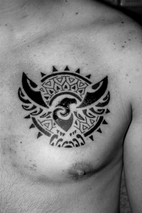 Sun & Eagle Maori Tat On Chest