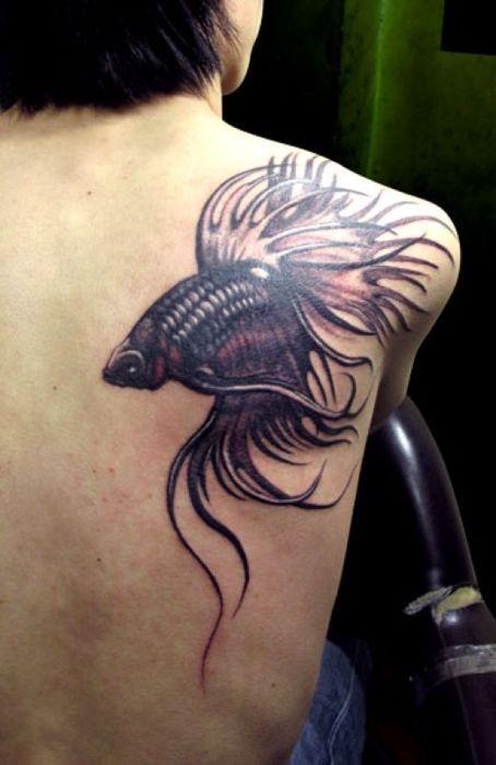 Back shoulder siamese fighting fish tattoo