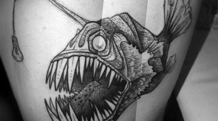 Black and white angler fish tattoo